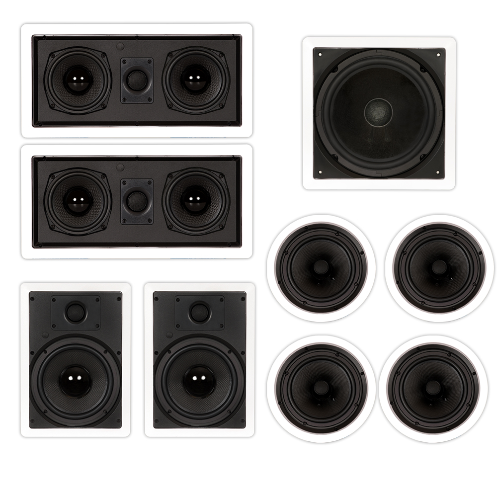 "Theater Solutions TST87 In Wall and In Ceiling 8"" Speakers 2000W Home Theater 7.2 Speaker System by Theater Solutions"