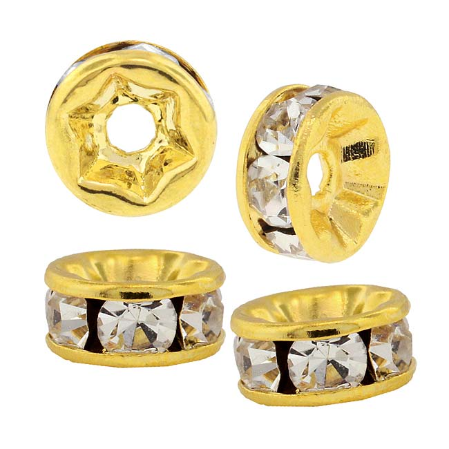 Beadelle Crystal 7mm Rondelle Spacer Beads - Gold Plated / Crystal (4 Pieces)