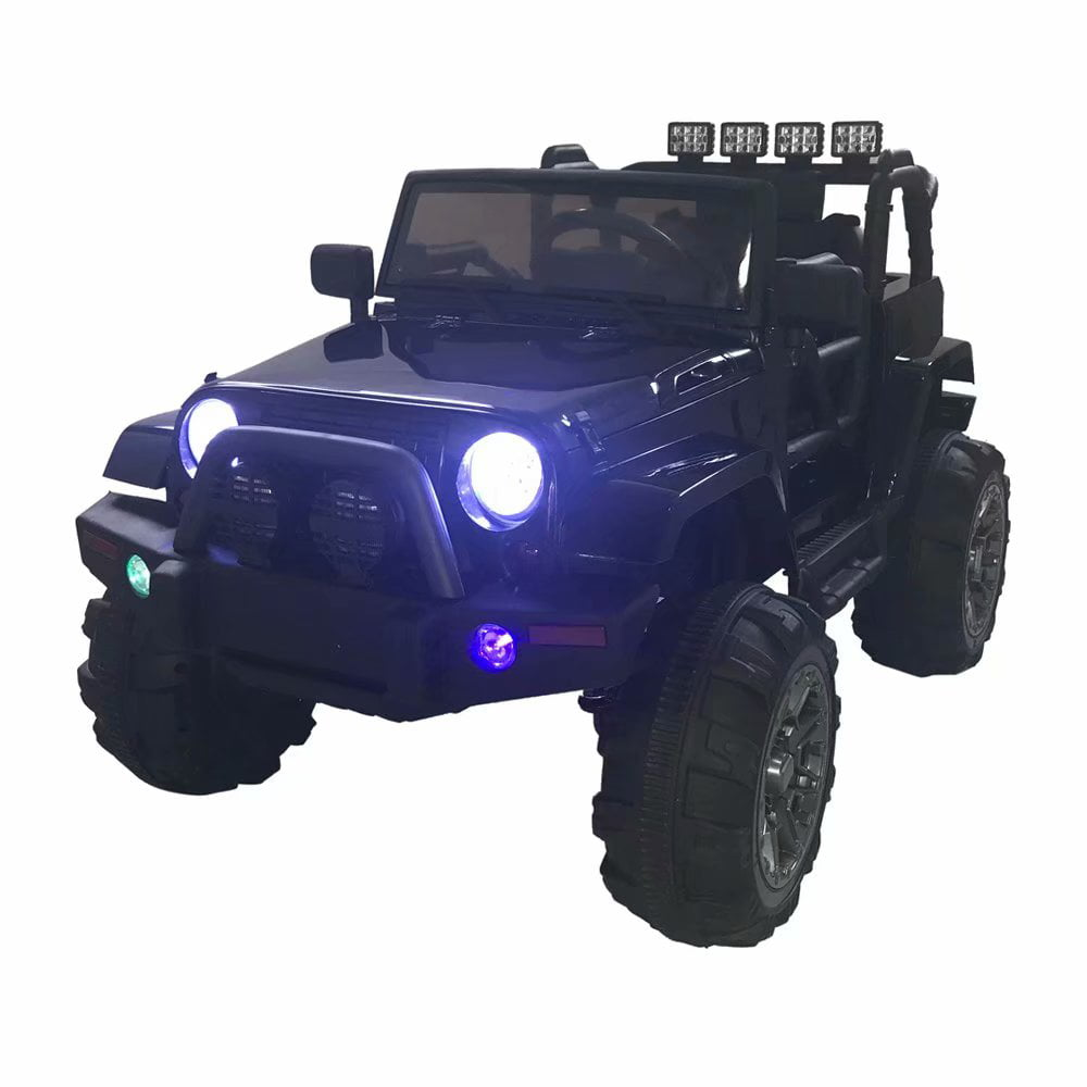 12V Kids Battery Powered Ride On Car Jeep w  Parent Control, LED Lights, MP3 Player, 3 Speeds ,Black, Best for... by