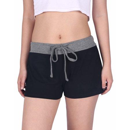 HDE Womens Juniors Pajama Shorts Sleep Wide Waistband Design Print Yoga Bottoms (Black w/Gray, Large)](Custom Design Pajamas)