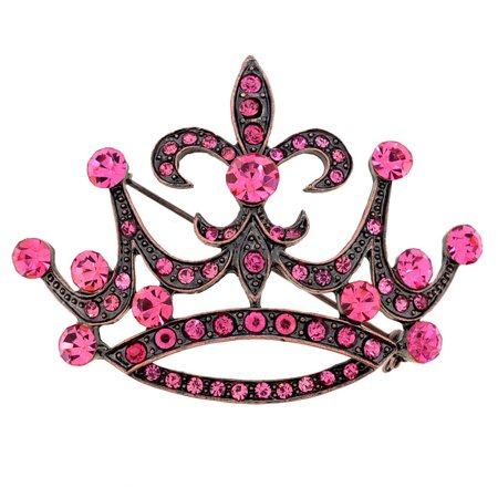 Vintage Style Pink Fleur-De-Lis Crown Crystal Pin Brooch