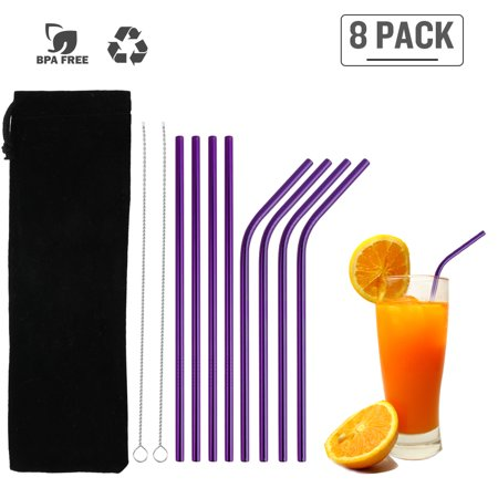 8Pcs Stainless Steel Straws Reusable Straws Set Matte Drinking Straws FDA-Approved BPA Free Cleaning Brush Portable Bag for All Sizes Tumblers Cold Beverage Family Bar ()