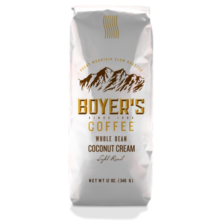 Boyer's Coffee Coconut Cream Flavored Coffee, Whole Bean,