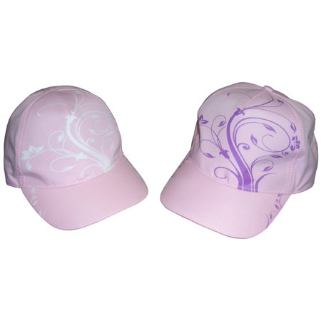 NICE CAPS Girls Kids Childrens Floral Scroll Print Magical Color Changing Sun Summer Baseball Ball Cap Hat](Ball Cap With Lights)