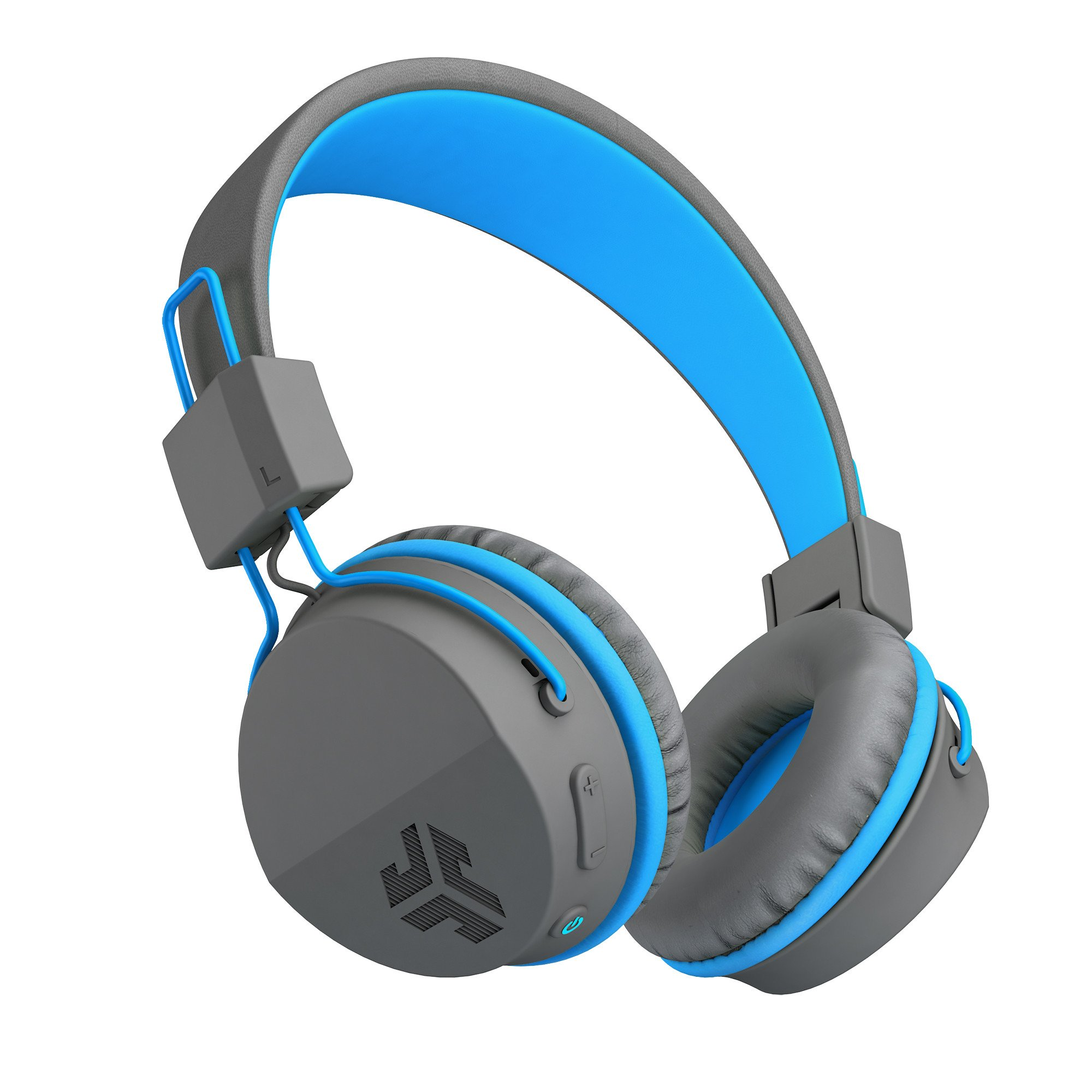 JLab Audio Neon Bluetooth On Ear Headphones, folding with Universal Mic - Gray/Blue