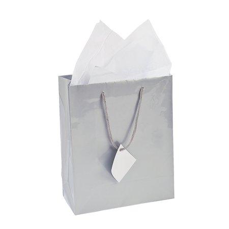 Dozen Gift (IN-13630460 Medium Silver Gift Bags Per Dozen )