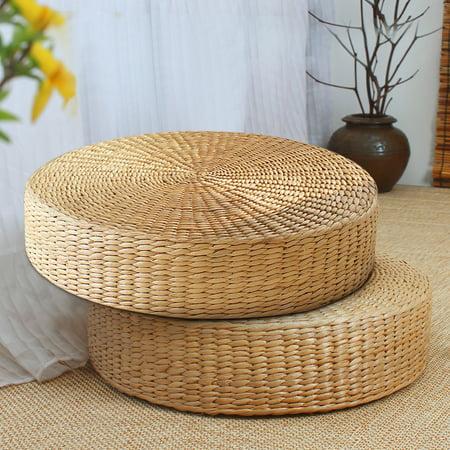 - 2PCS Tatami Cushion Chair Seat 16'' Round Straw Weave Pillow Home Floor Yoga Mat Handmade Natural Straw