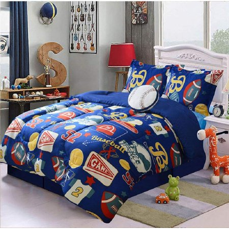 5 Piece Baseball Sport Design Navy Kids Comforter Set Bedding Ensemble Full Size Jd6651
