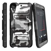 HTC Desire 530 Case | HTC Desire 630 Case [ Clip Armor ] Rugged Dual Layer Case with Kickstand + Bonus Belt Clip - Gray Camouflage