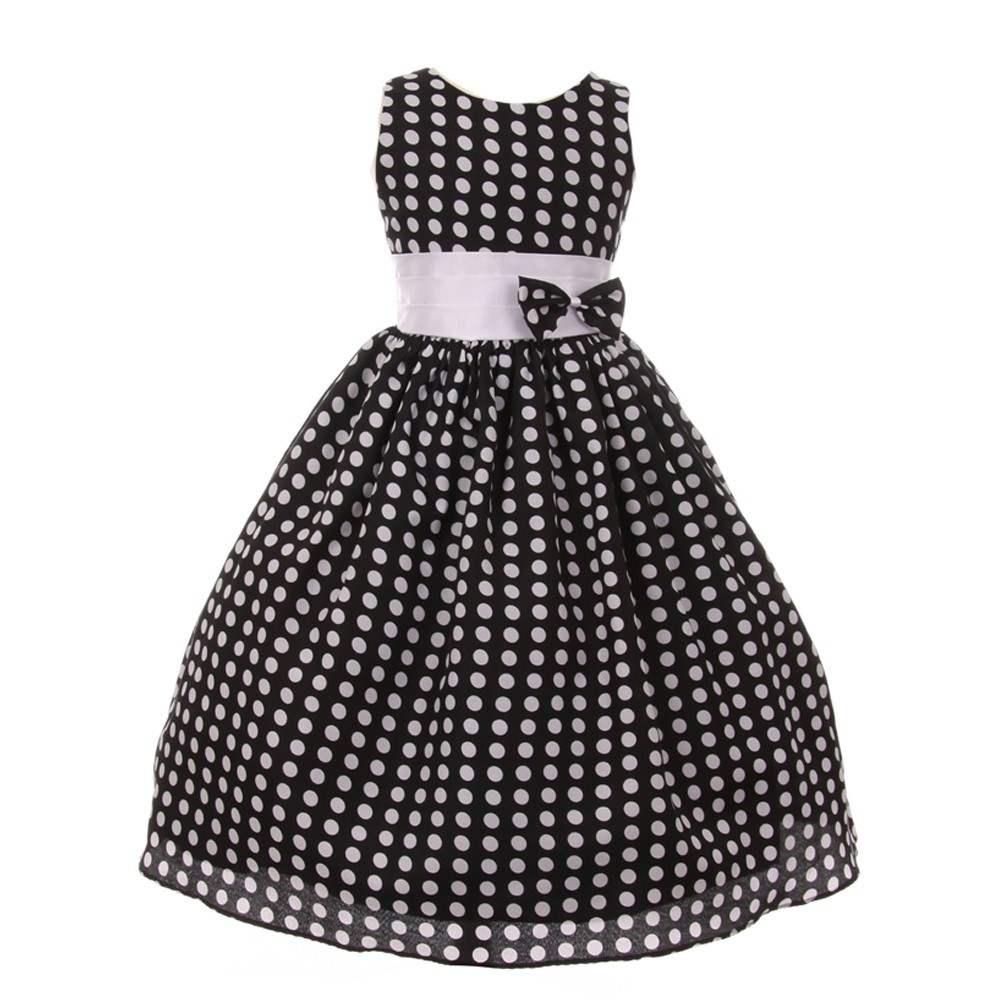 Girls Black White Polka Dot Pattern Bow Sleeveless Flower...