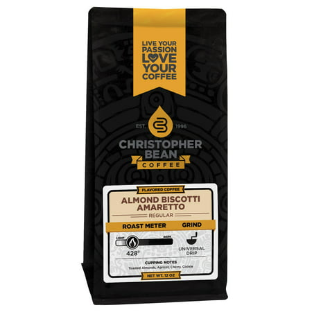 Amaretto Almond Biscotti Flavored Decaf Whole Bean Coffee, 12 Ounce Bag