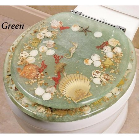 Jewel Shell Seashell And Seahorse Resin Toilet Seat Chrome Hinges Standard Size Green