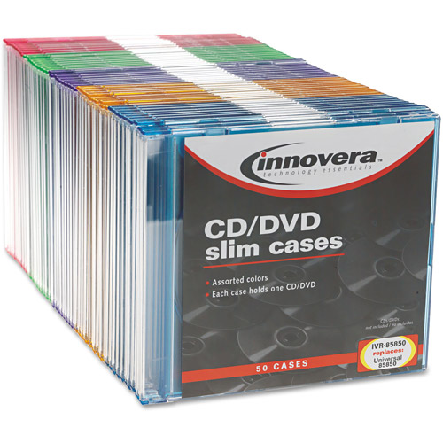 Innovera Thin Line Polystyrene CD/DVD Storage Cases, Assorted Colors, 50/Pack