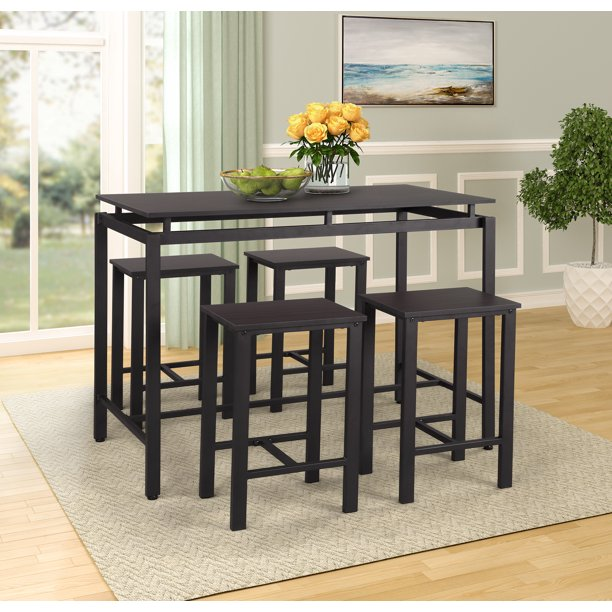 5 Piece Pub Table Set Heavy Duty Dining Table Set Modern Style Wooden Kitchen Table And