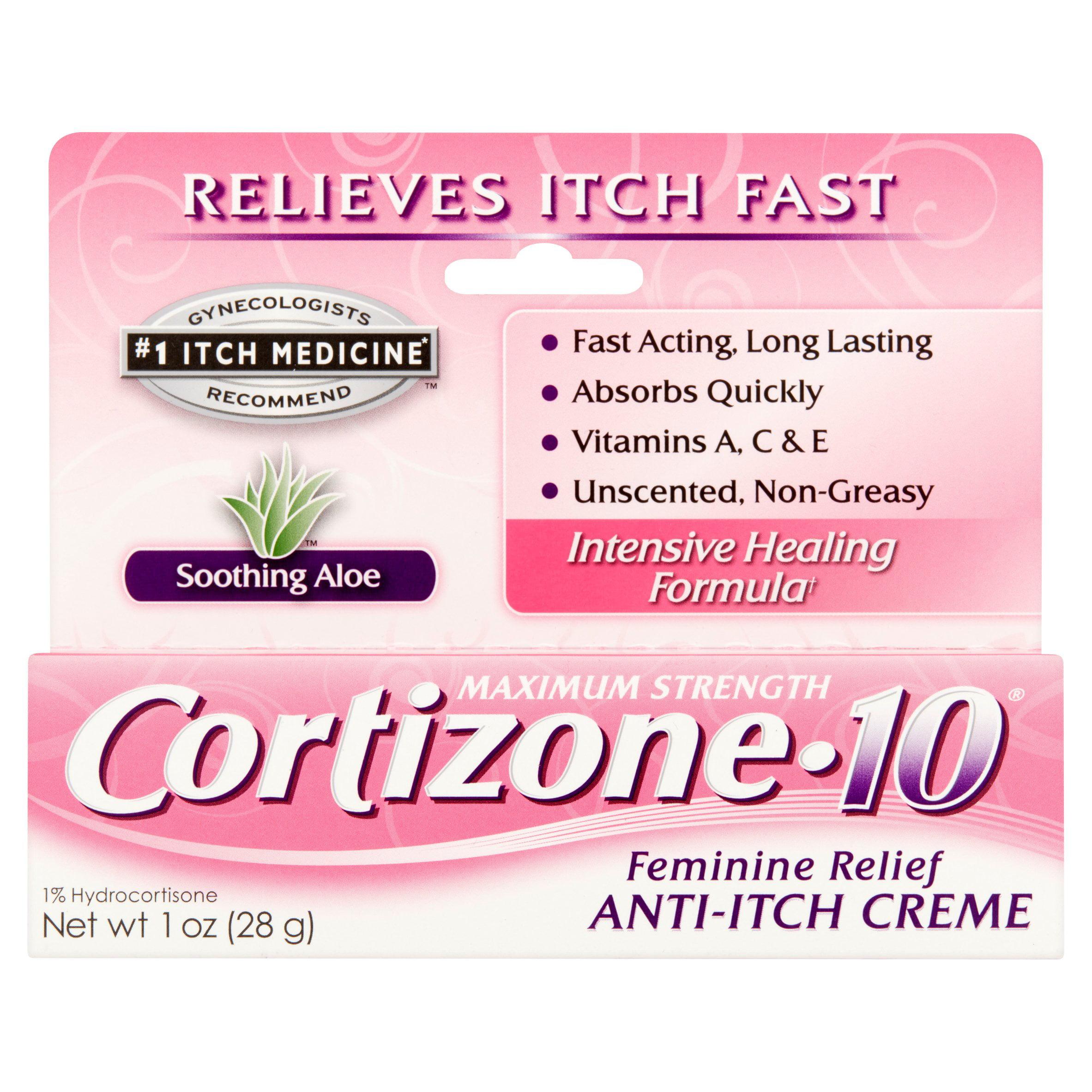 Cortizone 10 Maximum Strength Feminine Relief 1% Hydrocortisone Anti-Itch Crème, 1oz