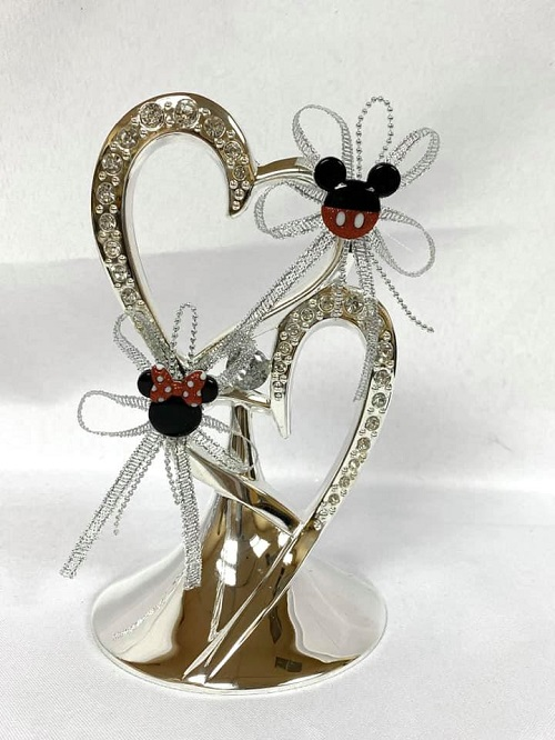 Mickey Mouse Silver Double Heart Porcelain Wedding Cake Topper Decoration Keepsake Mr And Mrs