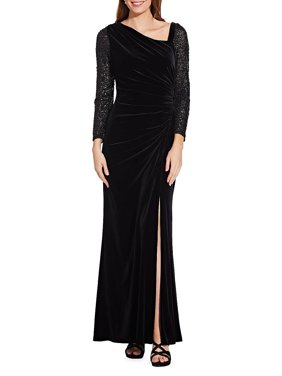 Adrianna Papell Velvet and Sequin Gown Black