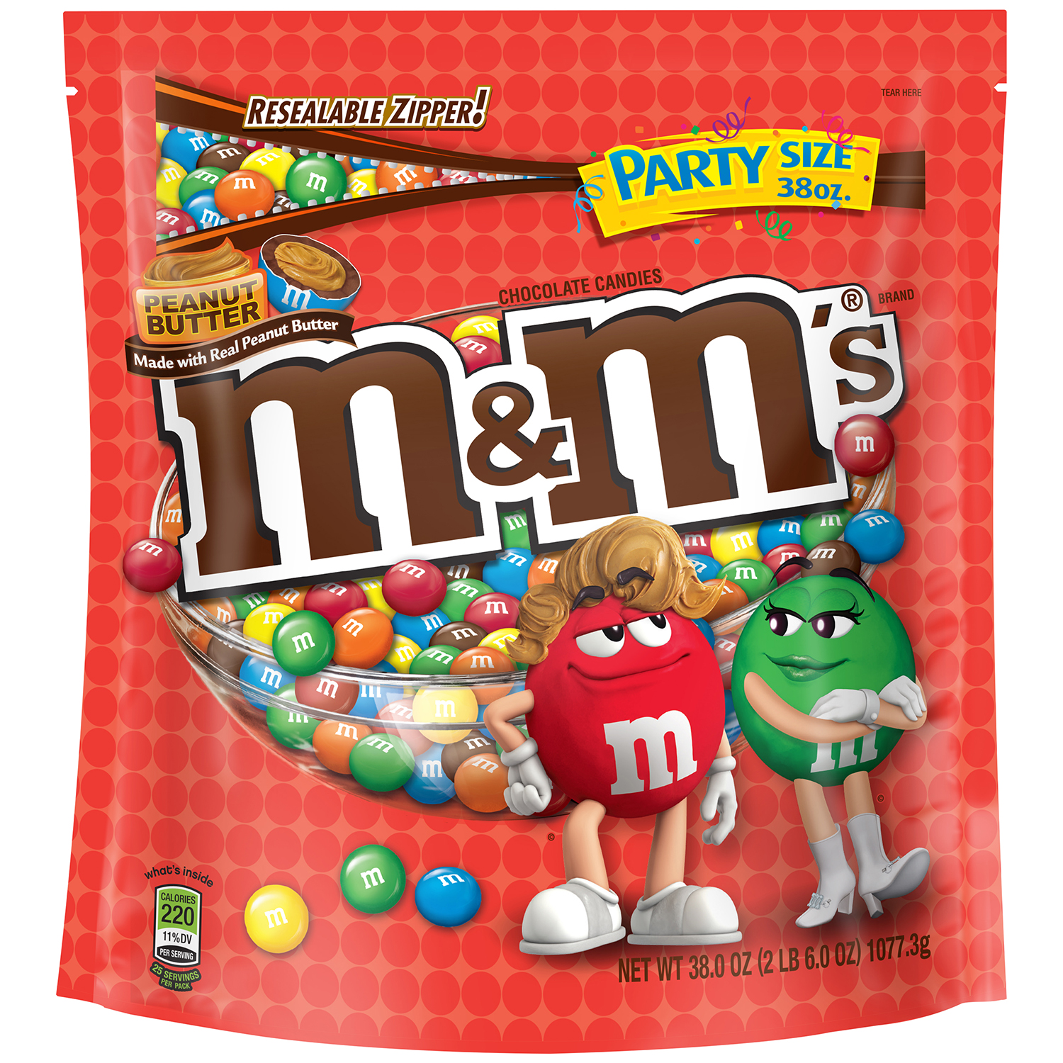 M&M'S Peanut Butter Chocolate Candy Party Size Bag, 38 oz