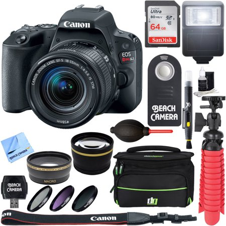 - Canon EOS Rebel SL2 Digital SLR Camera + EF-S 18-55mm IS STM Lens Kit + Accessory Bundle 64GB SDXC Memory + DSLR Photo Bag + Wide Angle Lens + 2x Telephoto Lens + Flash + Remote + Tripod & More