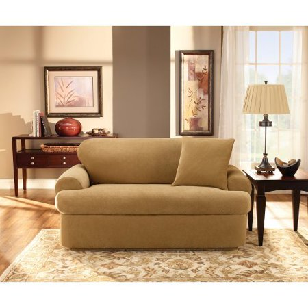 sure fit stretch pique t cushion two piece sofa slipcover. Black Bedroom Furniture Sets. Home Design Ideas