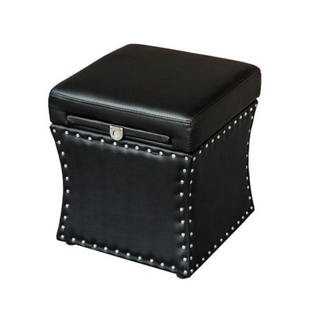 "18"" Modern Storage Ottoman w/ Pull Out Table Drawer - Black"