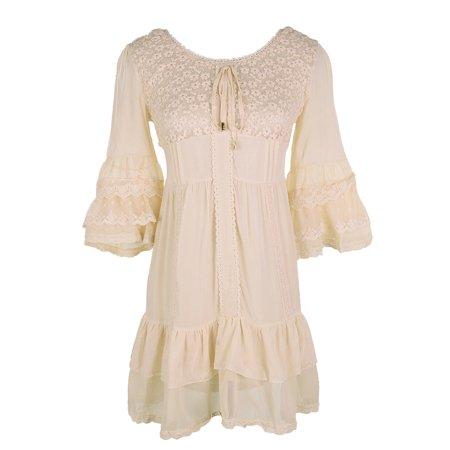 Belle Peasant Dress (Summer Womens Boho Peasant Floral Lace Ruffle Hem Bell Sleeve Mini)