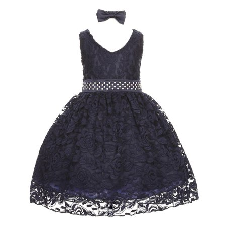 Baby Girls Navy Rose Floral Lace Overlay Beaded Waist Occasion Dress 3-24M