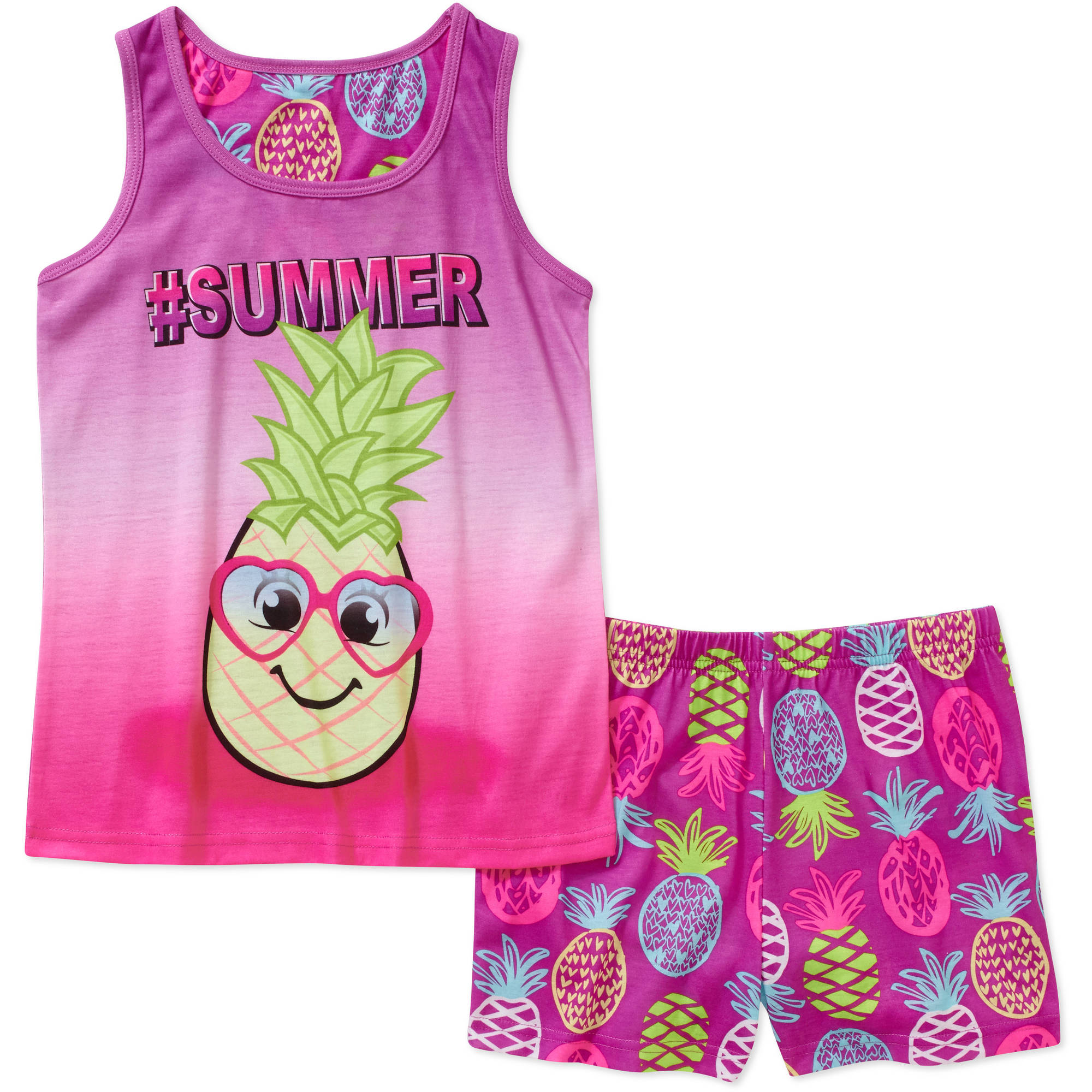 Girls' Graphic Sleep Tank Top and Short 2 Piece Pajama Set