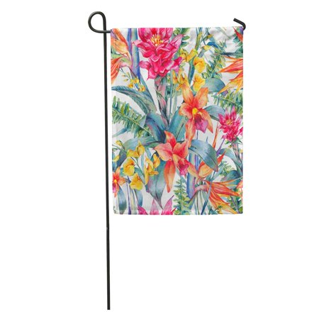 LADDKE Watercolor Vintage Floral Tropical Exotic Flowers Bird of Paradise Twigs Garden Flag Decorative Flag House Banner 12x18 inch