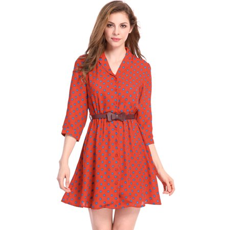 Unique Bargains Women's Belted Polka Dots 3/4 Sleeves Above Knee Shirt Dress - image 4 of 7