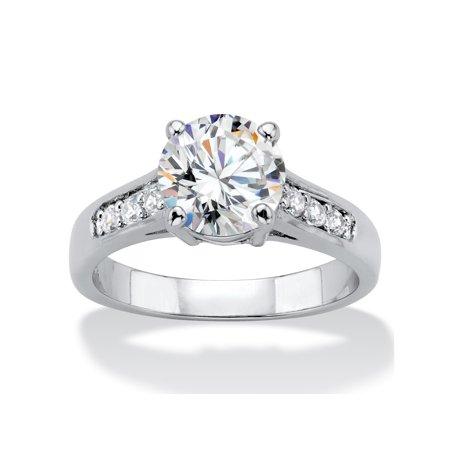 2.20 TCW Round Cubic Zirconia Silvertone Engagement Anniversary Ring ()