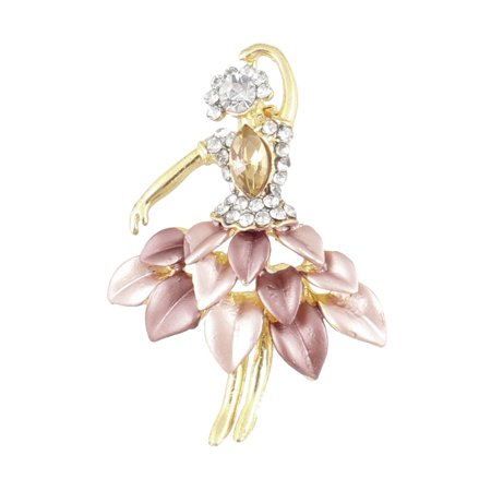 Unique Bargains Lady Wedding Rhinestone Inlaid Ballet Metal Pin Brooch Pink