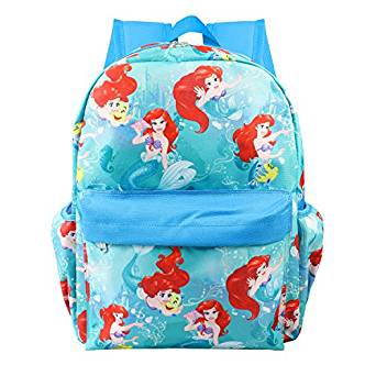 Small Backpack - Disney - Little Mermaid Ariel Blue Allover 12