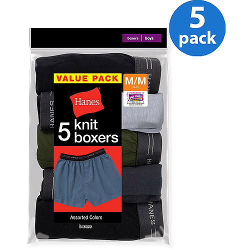 Hanes Boys' Knit Boxer, 5 Pack