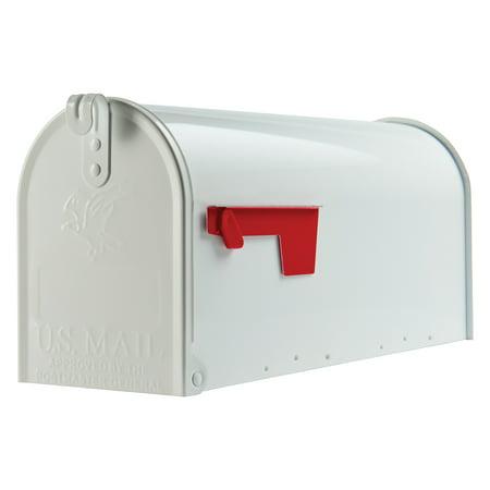 Gibraltar Mailboxes Classic Medium, Steel, Post Mount Mailbox, White, T1S00W00