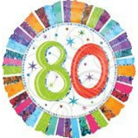 80th Birthday Balloons (80th Birthday balloon - Prismatic Radiant 80th Birthday Flat 18
