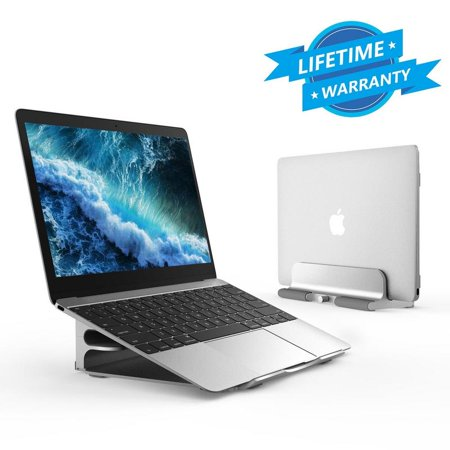 Vertical Laptop Stand - Seenda Adjustable Laptop Stand, Vertical Stand plus Adjustable Height Stand for Typing 2 in 1, Compatible with All MacBook, MacBook Air, MacBook Pro,Dell XPS Laptops-Silver Adjustable Height Laptop Stand