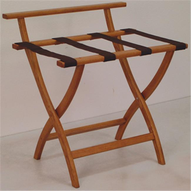 Wooden Mallet LR4-MOBRN WallSaver Luggage Rack in Medium Oak with Brown Webbing