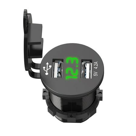 12V Car Cigarette Lighter Socket Splitter Dual USB Charger Power Adapter Outlet Green