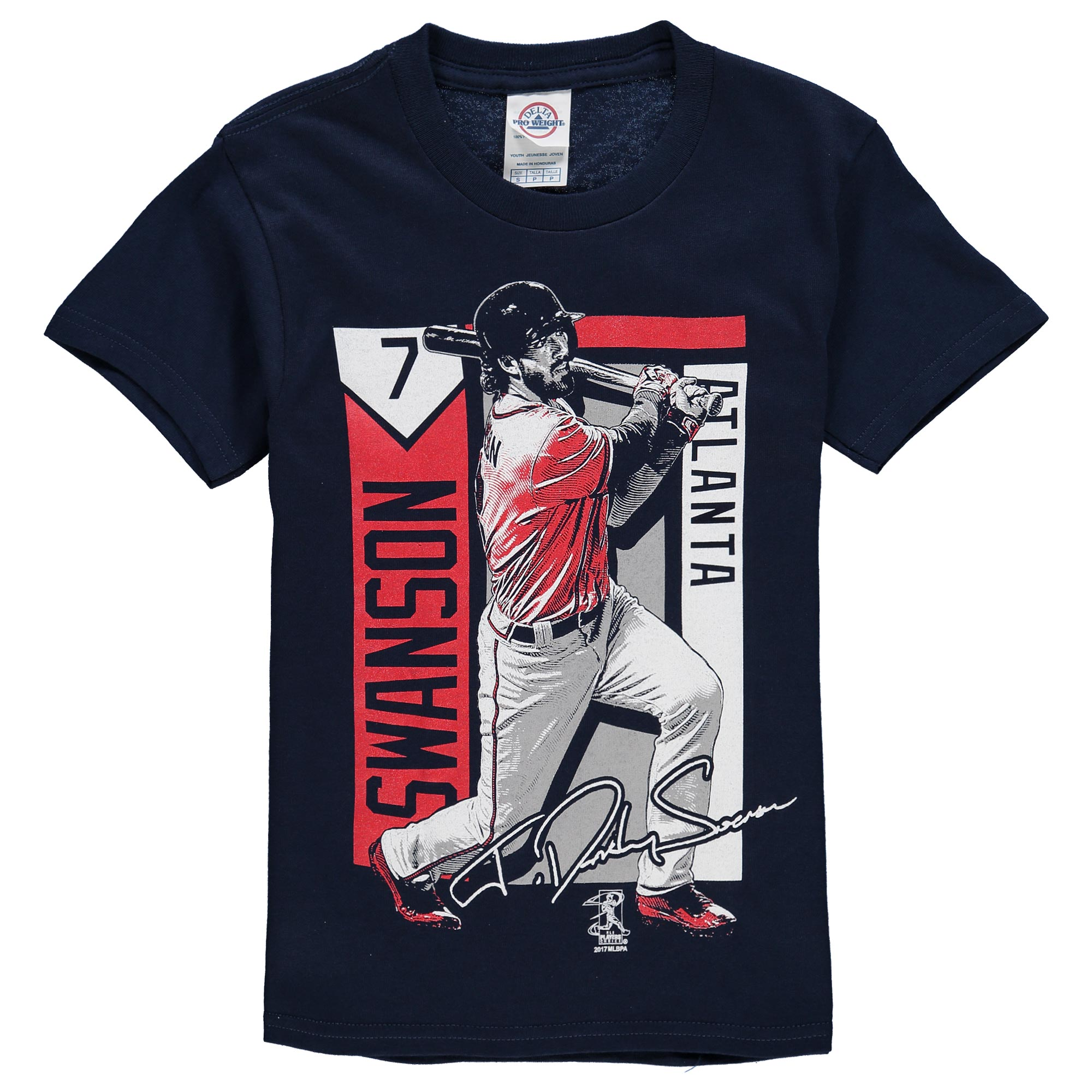 Dansby Swanson Atlanta Braves Youth Color Block Player Series Graphic T-Shirt - Navy
