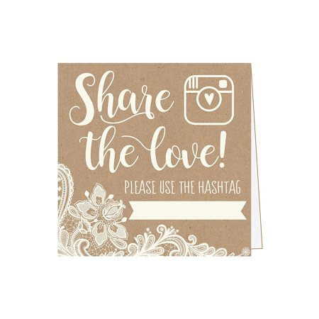 25 Kraft Lace Wedding Instagram Hashtag Signs, Rustic Vintage Table Top Place Cards or Photo Booth Oh Snap Sign, Quotes for Wedding, Wedding Reception or Ceremony Decor - Wedding Ceremony Decor