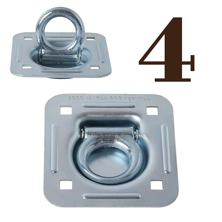 D Ring Tie-Down Anchors (Large Square), Recessed Pan Fitting DRings Heavy Duty Steel Cargo Tie Downs by DC Cargo Mall, Truck/Trailer/Flatbed/Pickup TieDown
