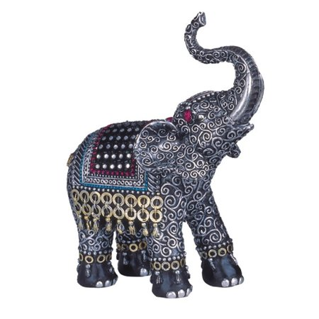 Black and Silver Thai Elephant with Raised Trunk Figurine Animal Decoration (Elephant Figurine Decoration)