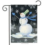 """Skating Snowman Winter Garden Flag Primitive Snowflakes 12.5""""x18"""" Briarwood Lane"""