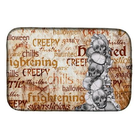 Creepy, Haunted and Frightful with skulls Halloween Dish Drying Mat (Creepy Halloween Dishes)