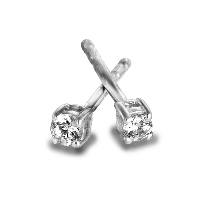 1 8 Carat T W Round Diamond Sterling Silver Stud Earrings