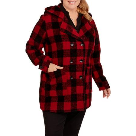Maxwell Studio Women's Plus-Size Hooded Long Faux Wool Peacoat