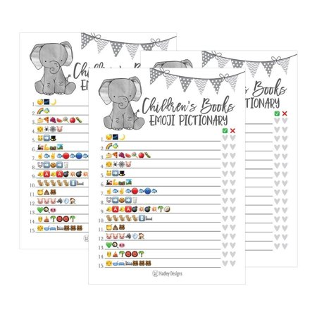 25 Elephant Emoji Children's Books Pictionary Baby Shower Game Party Ideas For Quiz Boy, Girl, Kids, Men, Women and Couples, Cute Classic Bundle Pack Set, Gray Gender Neutral Unisex Fun Coed Cards - Baby Shower Menu Ideas