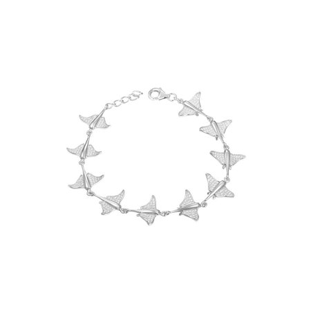 925 solid sterling silver rhodium plated Hawaiian stingray fish link bracelet cz - Zirconia Fish Bracelets