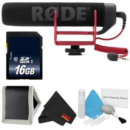 Rode VideoMic GO + 16GB SDHC Class 10 Memory Card + Deluxe Cleaning Kit + Memory Card Wallet + MicroFiber Cloth Bundle